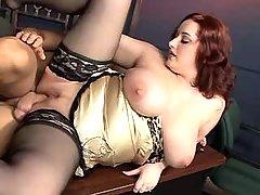 Plump secretary gets cum on boobs