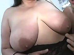 Mature BBW with big tits spoils man