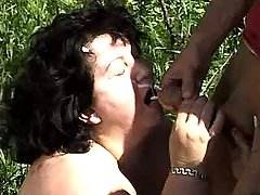 Fat mature gets mouthfull in nature