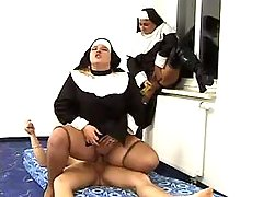Chubby nuns jump on dick by turns