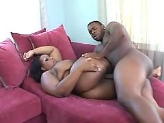 Black fatty get cum on massive tits