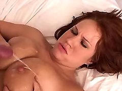 Cute busty redhead gets cum on tits