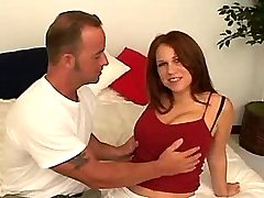 Hot busty redhead chick seduces man