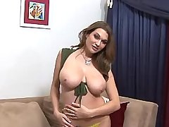 Cute girl shows huge oiling boobs