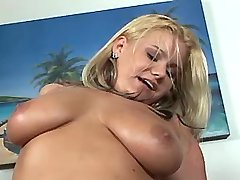 Chesty plumper jumps on strong dick