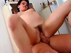 Pregnant girl gets cumload on belly