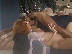 Pregnant milf sucking cock on sofa
