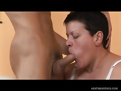 Fat milf screwed by enormous young cock