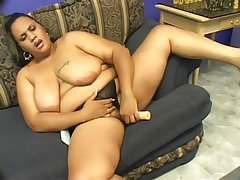 Black bbws fuck each other with a dildo