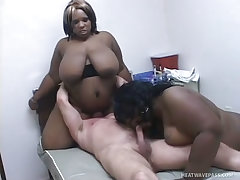 White stud blown by two enormous black bbw street hookers