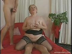 Big tits granny wants two large cocks