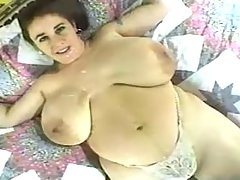 Busty BBW drinks own milk
