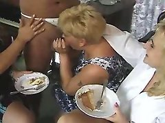 Lustful paunchy woman does blowjob