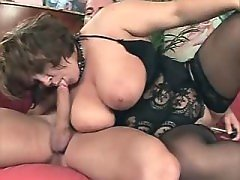 Sensual chubby woman blowing dick
